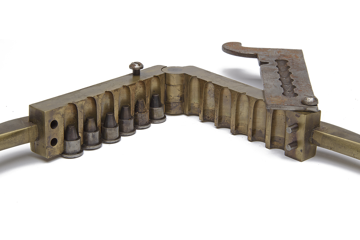 V.R. BLACKMORE A LARGE BRASS .577 SIX CAVITY GANG-MOULD, late 19th Century, iron sprue-cutter with - Image 2 of 2