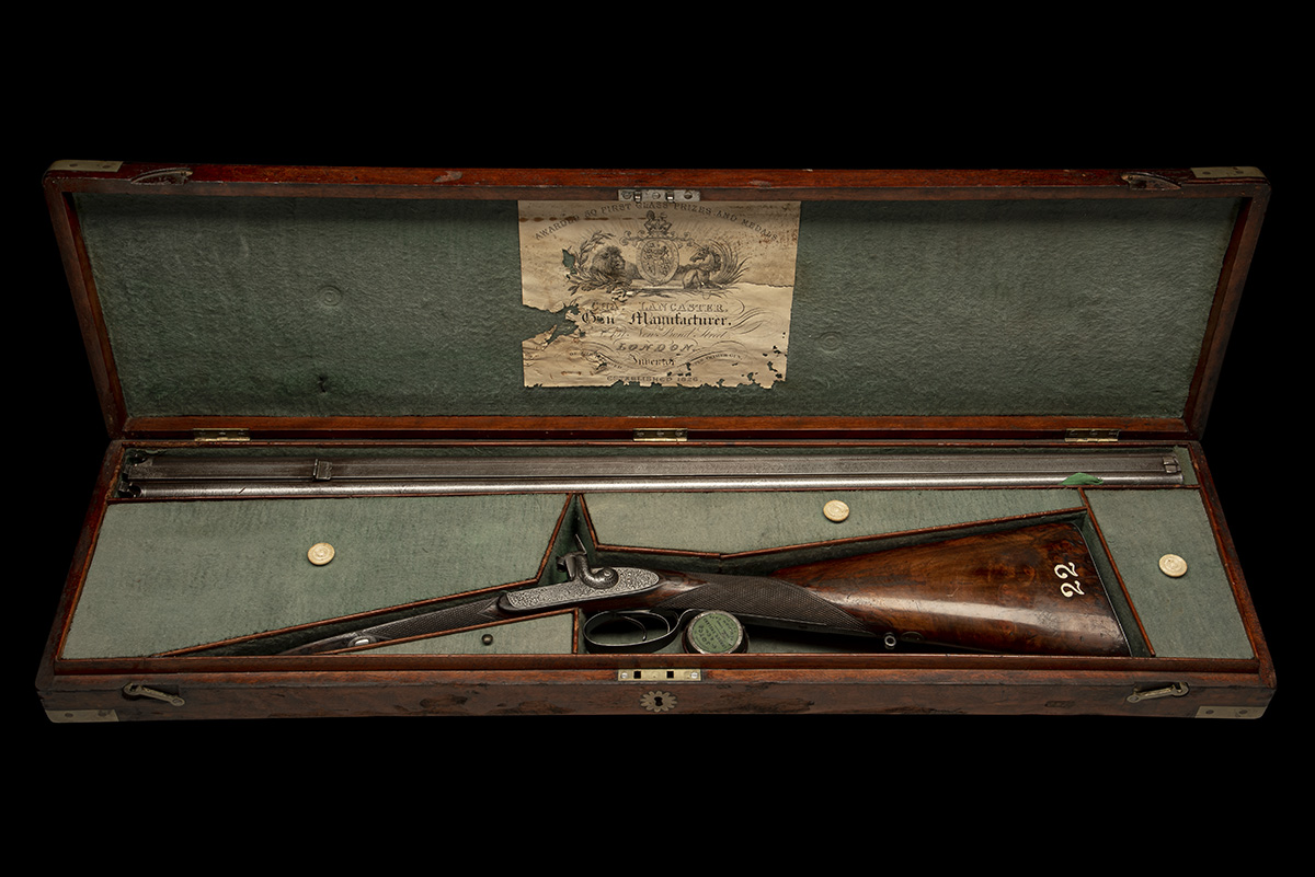 CHARLES LANCASTER, LONDON A CASED 12-BORE PERCUSSION DOUBLE-BARRELLED SPORTING-GUN, serial no. 2292, - Image 6 of 11