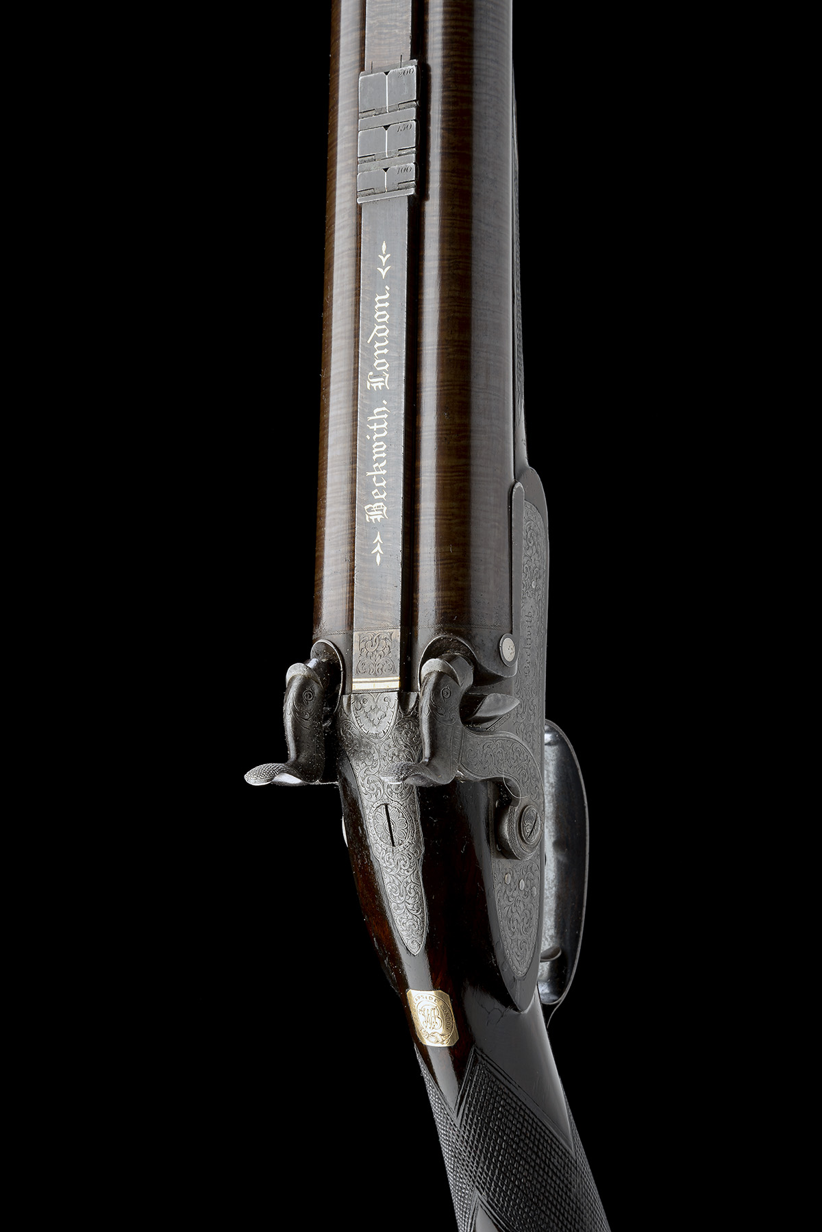 BECKWITH, LONDON A FINE CASED 15-BORE PERCUSSION DOUBLE-RIFLE FOR DANGEROUS GAME, serial no. 2747, - Image 4 of 14