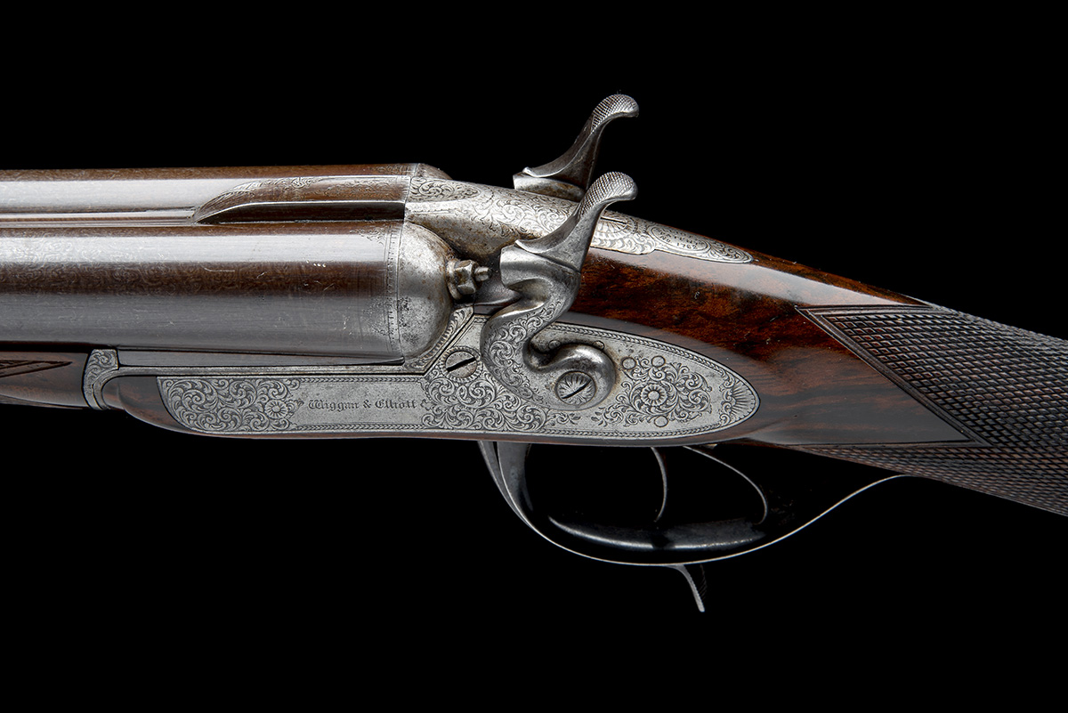WIGGAN & ELLIOTT A SCARCE 12-BORE HENRY ELLIOTT 1863 PATENT PUSH-FORWARD UNDERLEVER ROTATING - Image 7 of 8