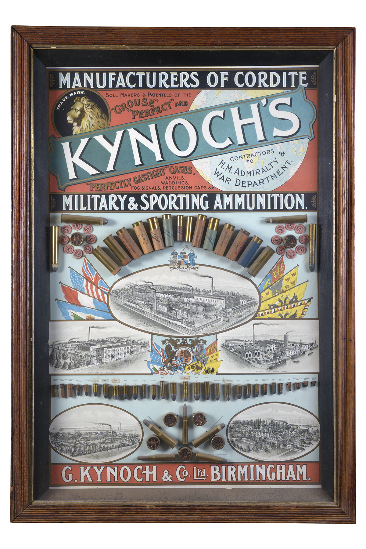 G. KYNOCH & CO., BIRMINGHAM A RARE EARLY GLAZED CARTRIDGE AND METALLIC AMMUNITION ADVERTISING BOARD,