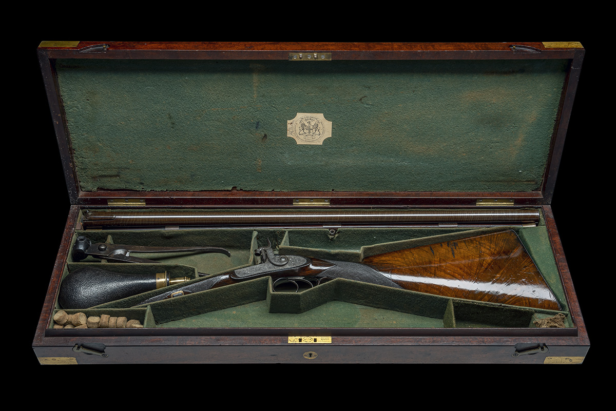 BECKWITH, LONDON A FINE CASED 15-BORE PERCUSSION DOUBLE-RIFLE FOR DANGEROUS GAME, serial no. 2747, - Image 11 of 14