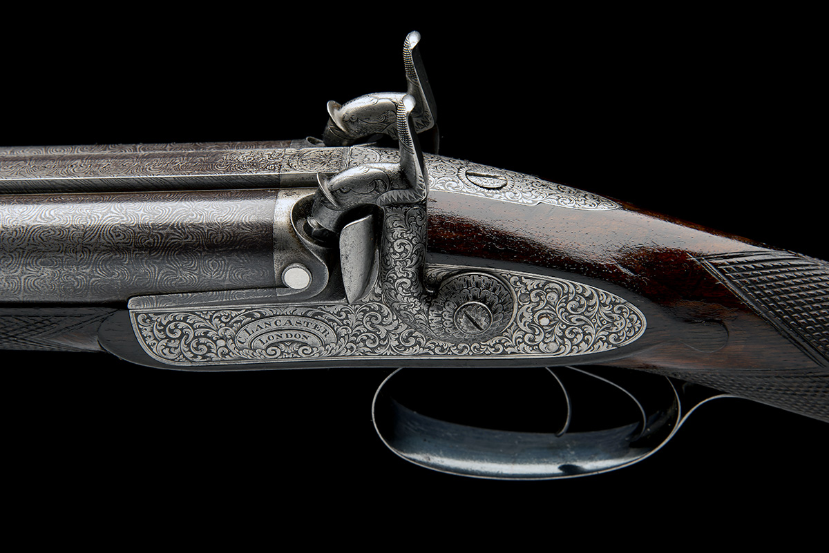 CHARLES LANCASTER, LONDON A CASED 12-BORE PERCUSSION DOUBLE-BARRELLED SPORTING-GUN, serial no. 2292, - Image 9 of 11