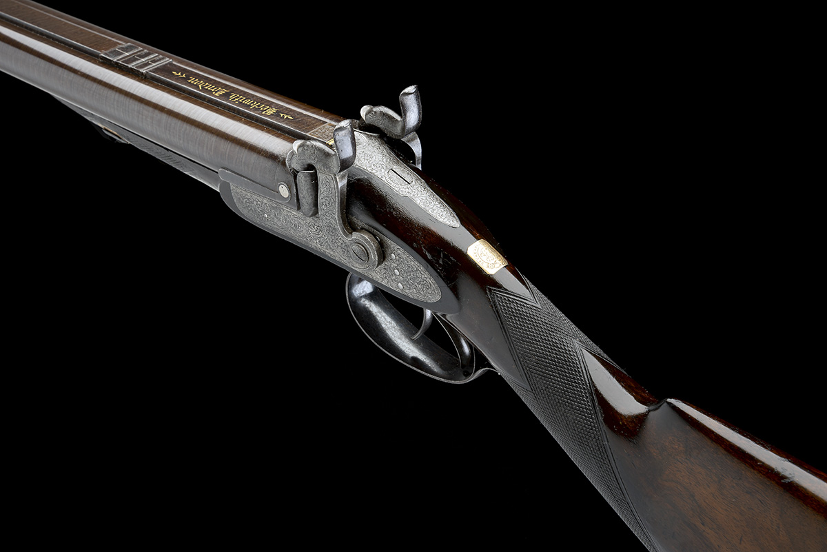 BECKWITH, LONDON A FINE CASED 15-BORE PERCUSSION DOUBLE-RIFLE FOR DANGEROUS GAME, serial no. 2747, - Image 9 of 14