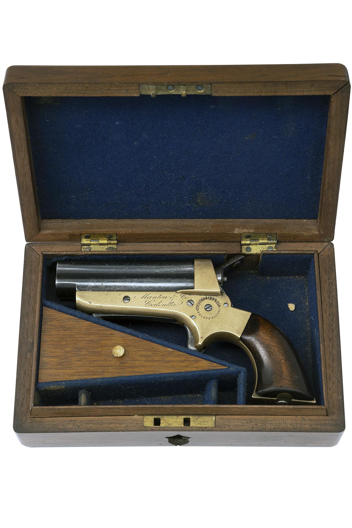 SHARPS, USA FOR MANTON & CO., CALCUTTA A CASED .30 (RIMFIRE) FOUR-BARRELLED DERRINGER PISTOL,