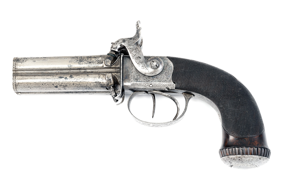 TIPPING, LONDON A CASED 48-BORE PERCUSSION FOUR-BARRELLED TURN-OVER PISTOL, no visible serial - Image 2 of 7