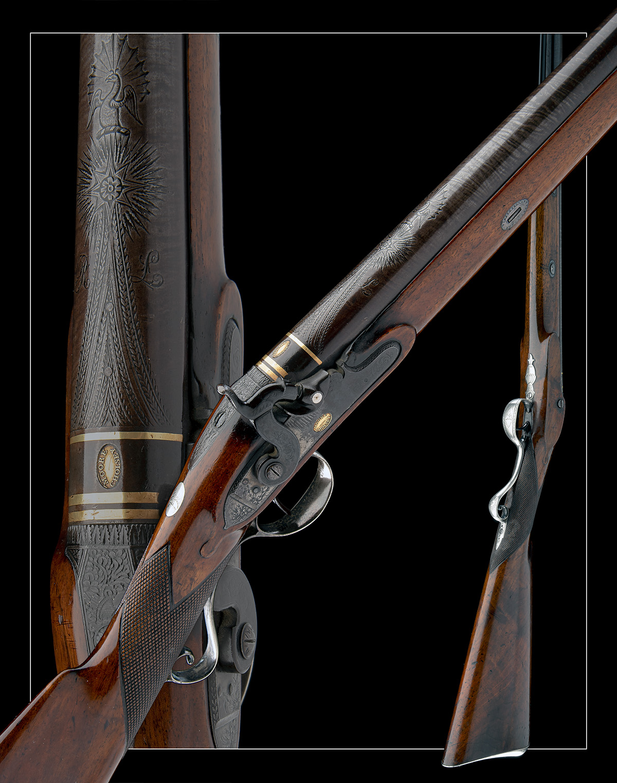 MOORE, CHOLSEY A GOOD 16-BORE PERCUSSION SILVER-MOUNTED SINGLE-BARRELLED SPORTING-GUN, no visible - Image 9 of 9
