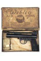 WEBLEY & SCOTT, BIRMINGHAM & LONDON A RARE BOXED .177 BARREL-COCKING AIR-PISTOL, MODEL 'MKII