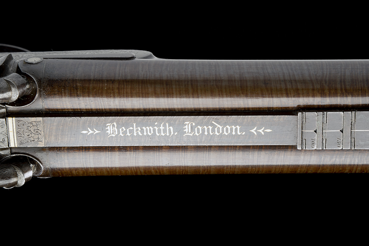 BECKWITH, LONDON A FINE CASED 15-BORE PERCUSSION DOUBLE-RIFLE FOR DANGEROUS GAME, serial no. 2747, - Image 10 of 14