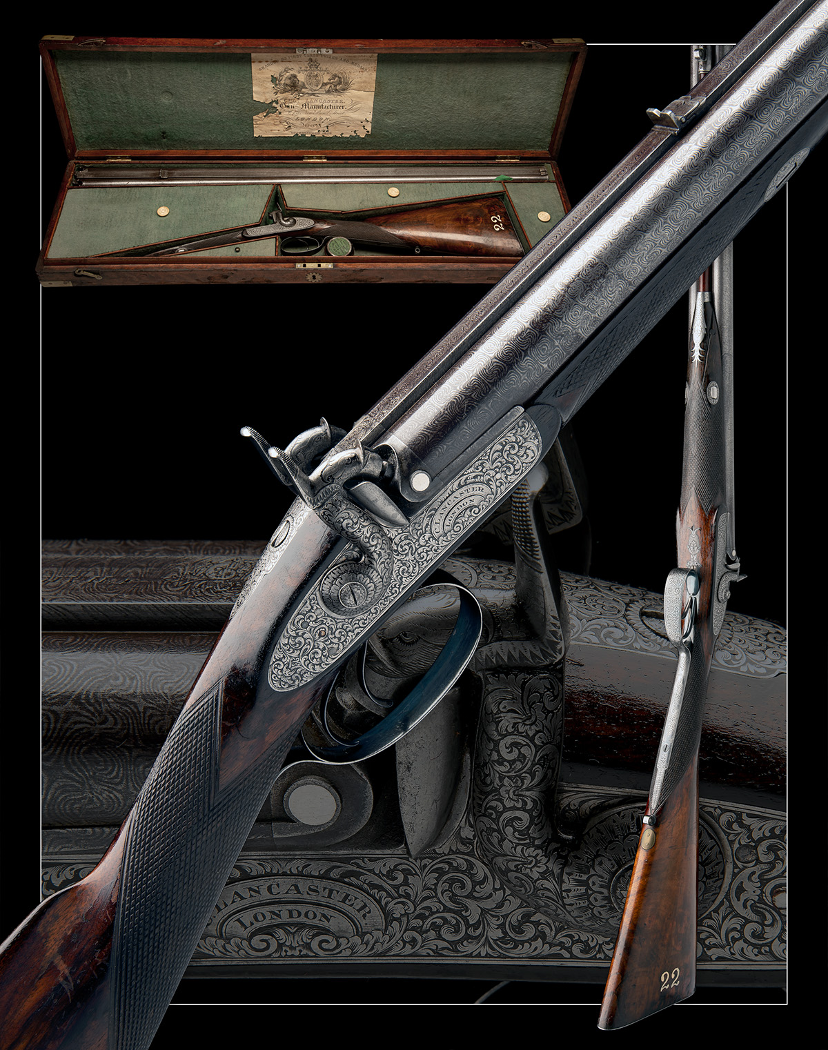 CHARLES LANCASTER, LONDON A CASED 12-BORE PERCUSSION DOUBLE-BARRELLED SPORTING-GUN, serial no. 2292, - Image 11 of 11