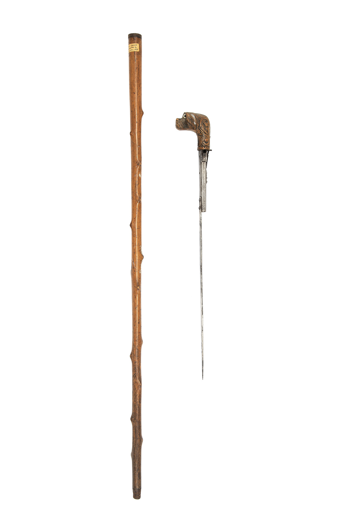 A SCARCE 7mm PINFIRE PISTOL & DAGGER COMBINATION WALKING-STICK, UNSIGNED, no visible serial