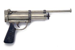 FRANK CLARKE, BIRMINGHAM AN ULTRA-RARE .177 SINGLE-SHOT NICKEL-PLATED SPRING-PISTON AIR-PISTOL,