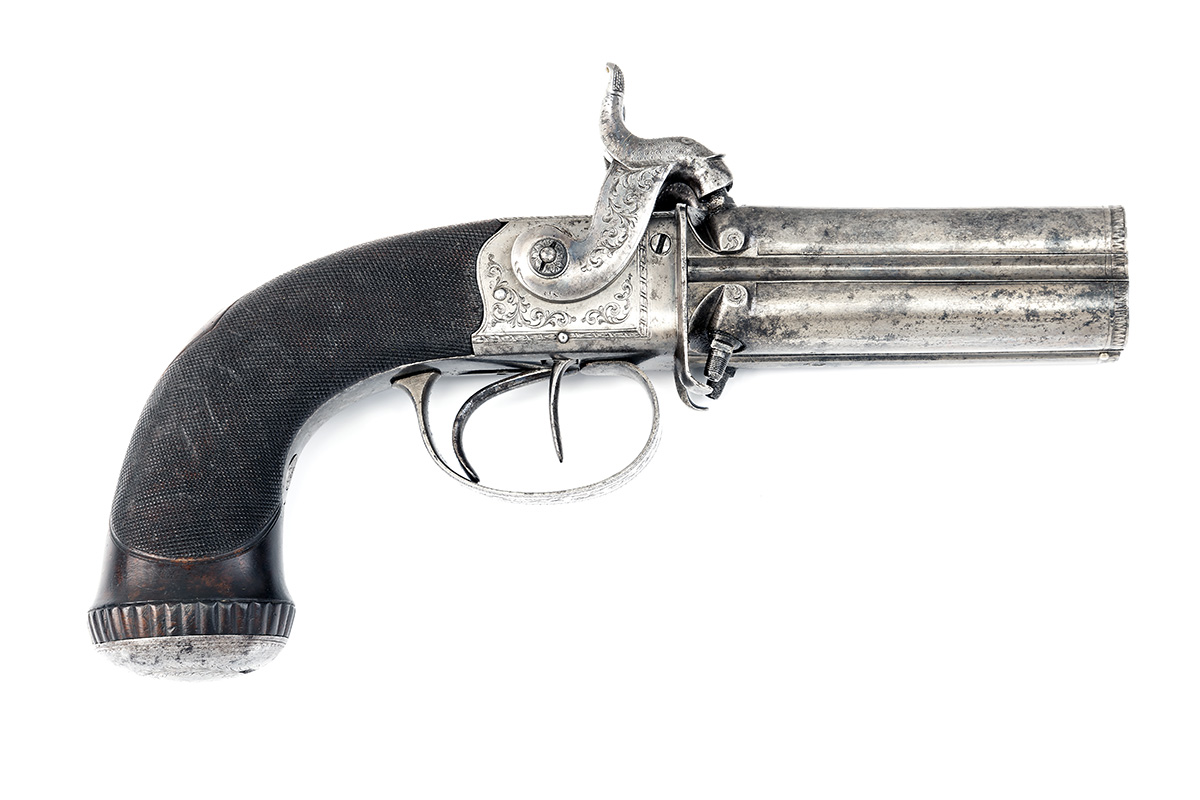 TIPPING, LONDON A CASED 48-BORE PERCUSSION FOUR-BARRELLED TURN-OVER PISTOL, no visible serial - Image 3 of 7