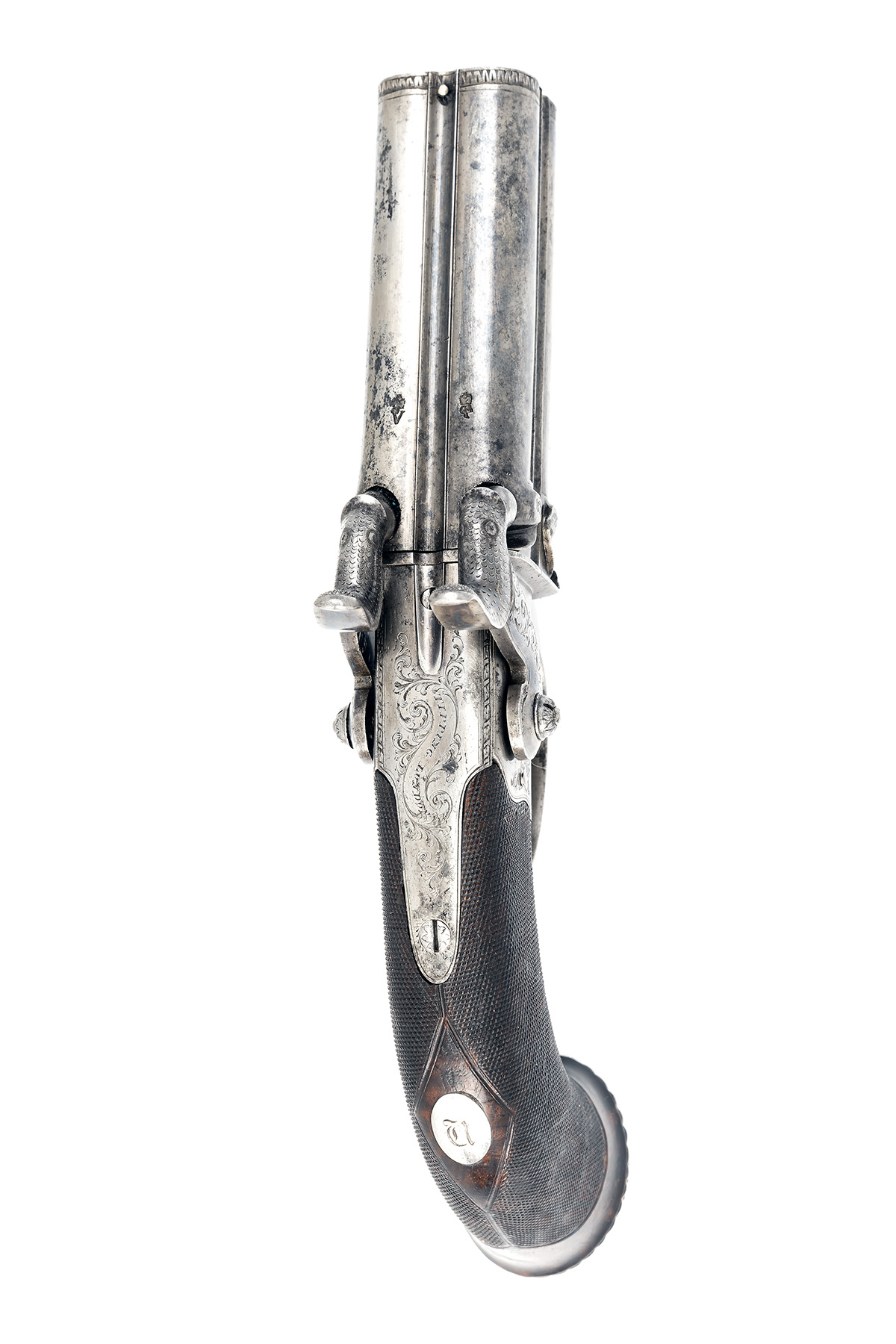 TIPPING, LONDON A CASED 48-BORE PERCUSSION FOUR-BARRELLED TURN-OVER PISTOL, no visible serial - Image 4 of 7