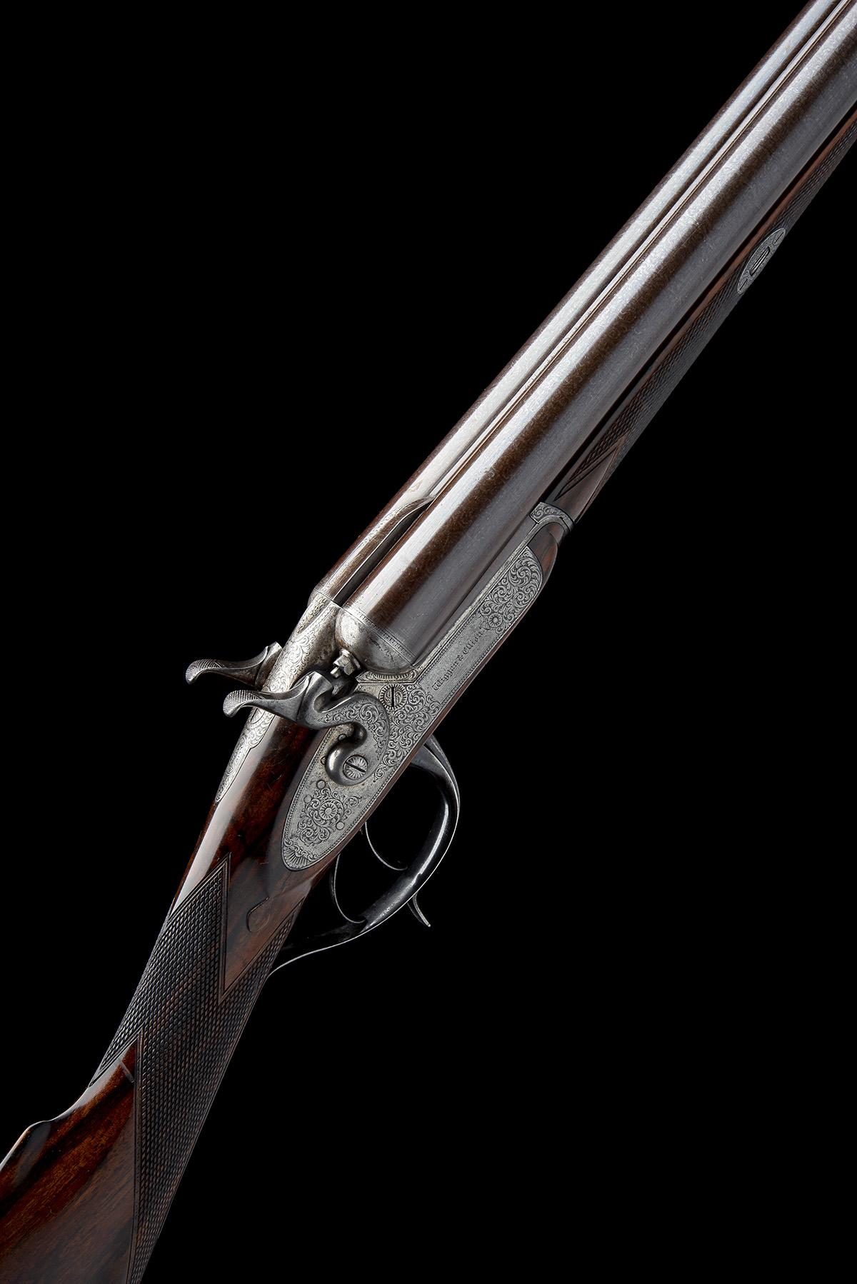WIGGAN & ELLIOTT A SCARCE 12-BORE HENRY ELLIOTT 1863 PATENT PUSH-FORWARD UNDERLEVER ROTATING