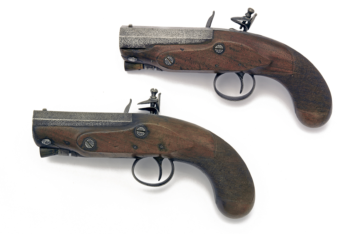 SMITH, LONDON A PAIR OF 20-BORE FLINTLOCK 'MANSTOPPER' POCKET-PISTOLS, no visible serial numbers, - Image 2 of 4