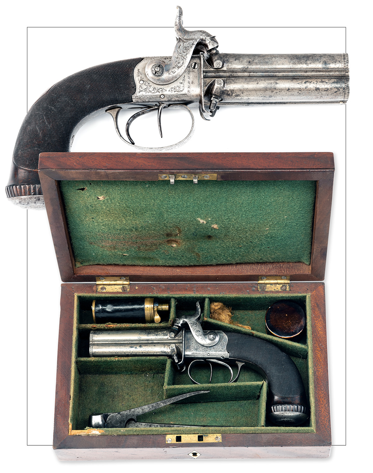 TIPPING, LONDON A CASED 48-BORE PERCUSSION FOUR-BARRELLED TURN-OVER PISTOL, no visible serial - Image 7 of 7