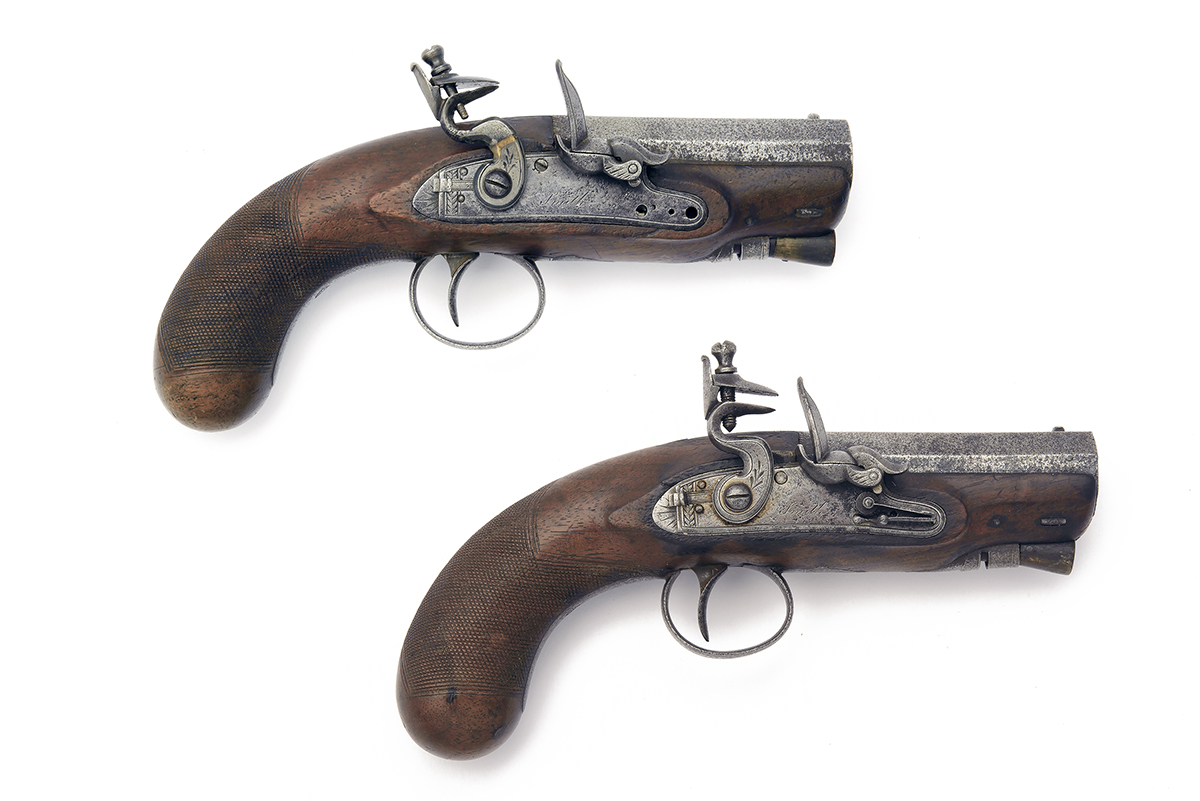 SMITH, LONDON A PAIR OF 20-BORE FLINTLOCK 'MANSTOPPER' POCKET-PISTOLS, no visible serial numbers,