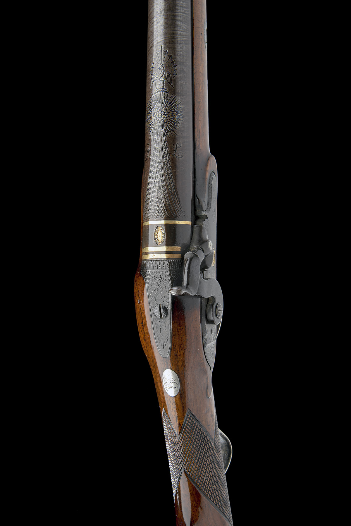 MOORE, CHOLSEY A GOOD 16-BORE PERCUSSION SILVER-MOUNTED SINGLE-BARRELLED SPORTING-GUN, no visible - Image 4 of 9