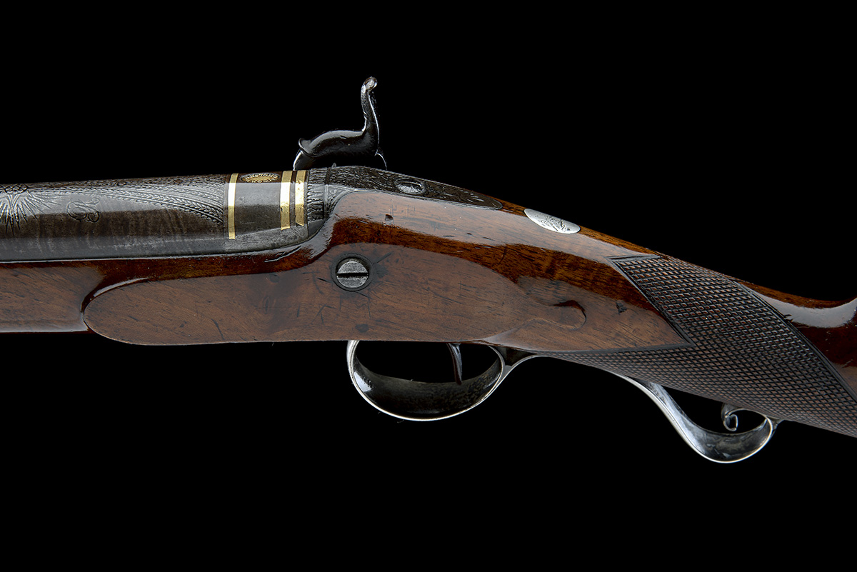 MOORE, CHOLSEY A GOOD 16-BORE PERCUSSION SILVER-MOUNTED SINGLE-BARRELLED SPORTING-GUN, no visible - Image 7 of 9