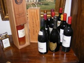 Various vintage wines including Chateau Rasque and