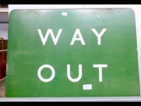 A vintage enamel 'Way Out' underground sign - 45cm