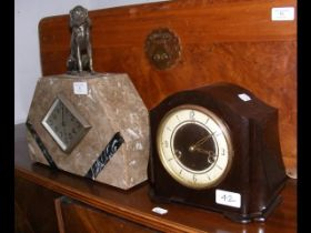 An Art Deco style French mantel clock together wit