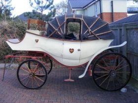 An impressive scratch built horse drawn wedding ca