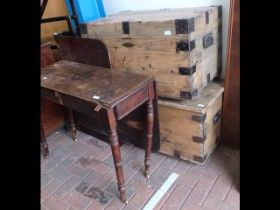 Two old pine blanket chests together with a drop l
