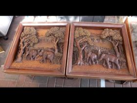 The matching pair of 60cm square carved coffee tab