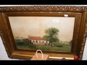 H GLASS - watercolour of farmyard scene - 49cm x 3
