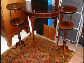 A reproduction half round hall table together with