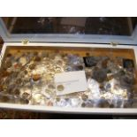 A mixed lot of UK and World coins in display case