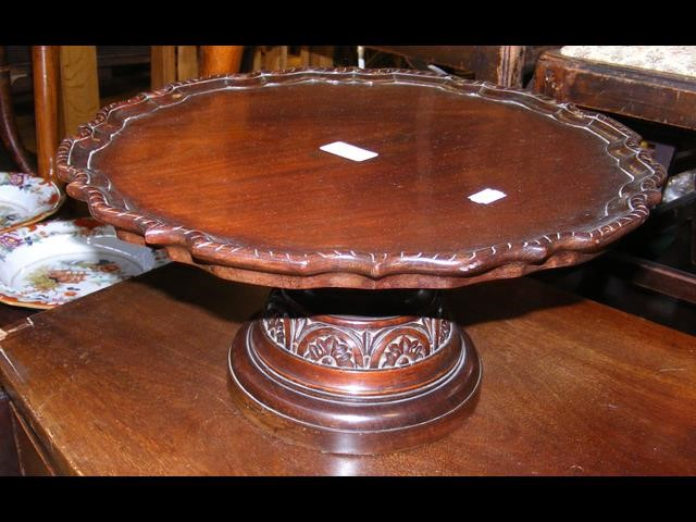 A 41cm diameter mahogany antique lazy susan