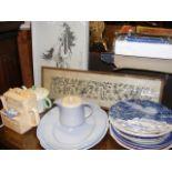 A novelty teapot depicting a kitchen dresser, asso