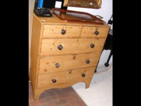 Victorian pine chest of two short and three long d