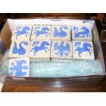 A collection of early blue and white tiles from Va
