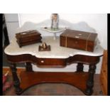 A Victorian marble top wash stand - 120cms