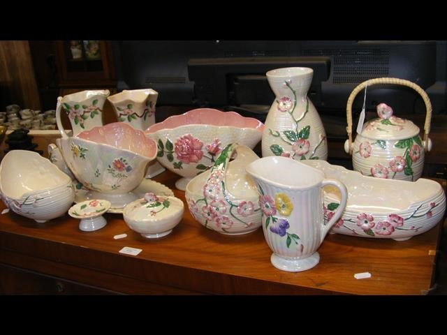 A collection of Maling ware, many of which feature