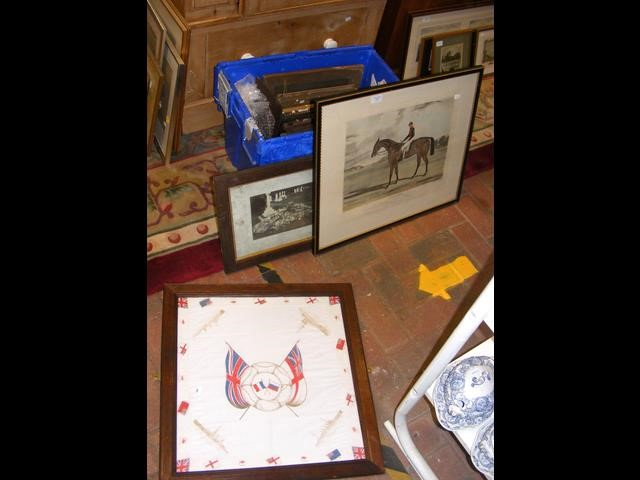 An assortment of framed pictures including an engr