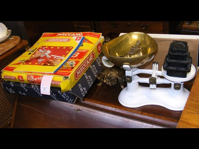 A box of Meccano, a set of vintage kitchen scales,
