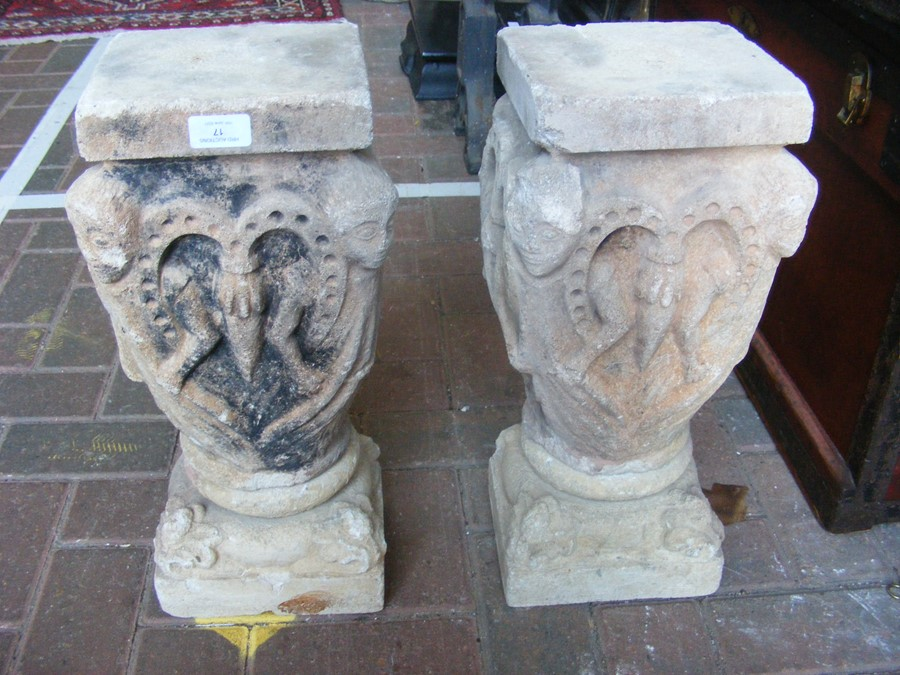 A pair of decoratively carved ancient Spanish ston - Image 4 of 12