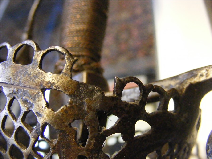 An early English rapier ? sword with pierced hand guard and wire gr - Image 5 of 8