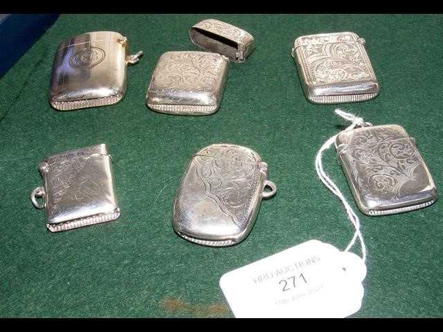 A collection of six silver vesta cases