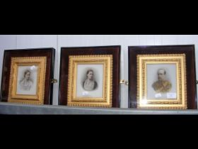 Three portraits on porcelain by SACHS - in decorative