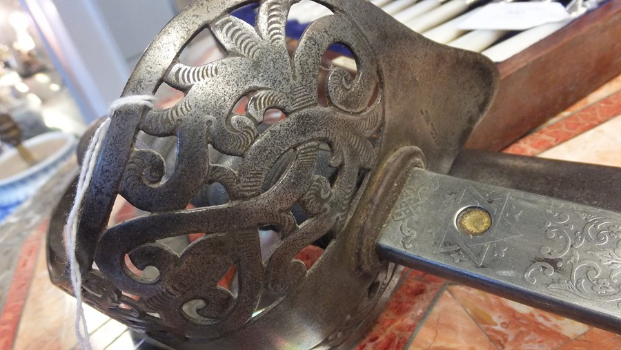 An antique military sword with shark skin and wire - Image 8 of 14