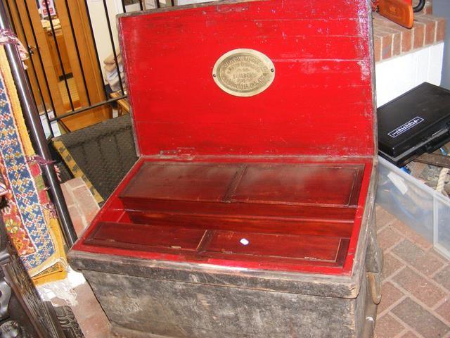 An old railway engineers toolbox having brass plaq