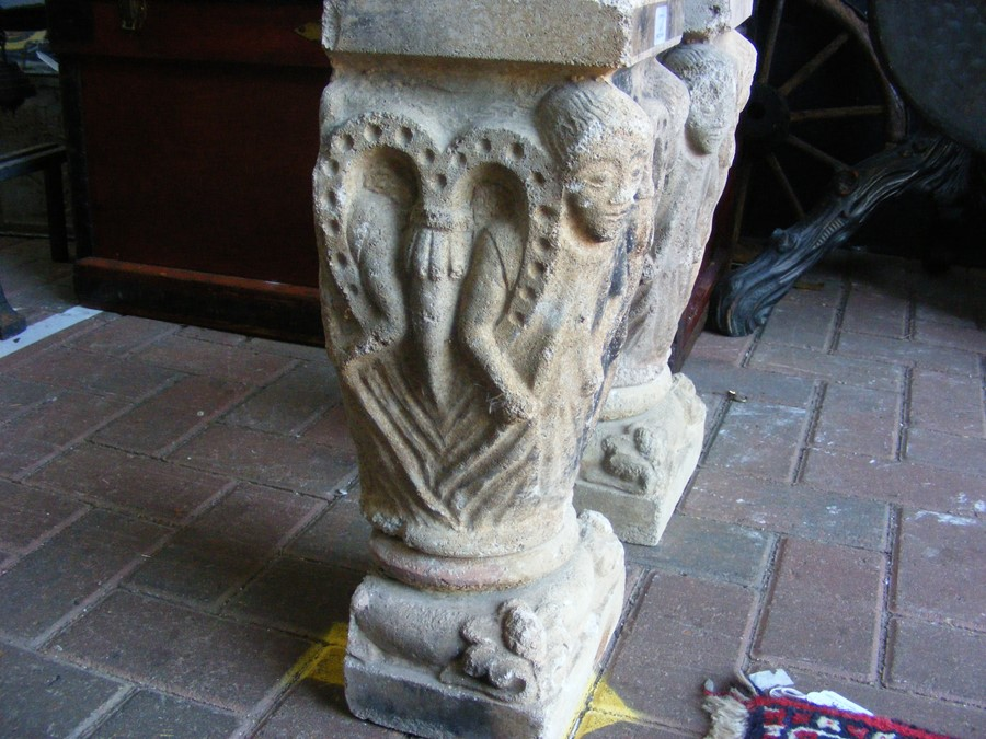 A pair of decoratively carved ancient Spanish ston - Image 5 of 12