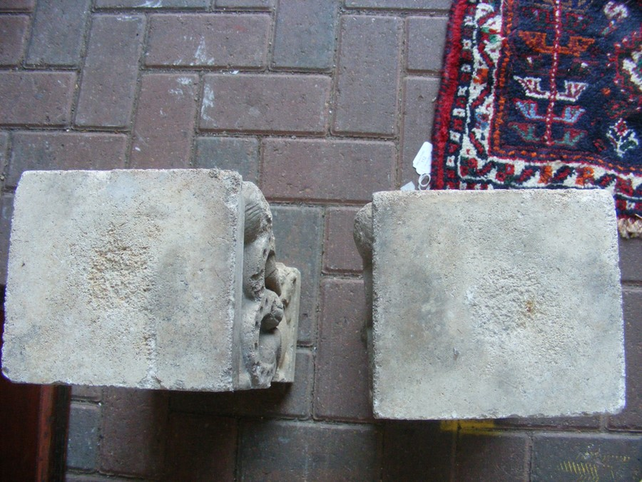 A pair of decoratively carved ancient Spanish ston - Image 7 of 12