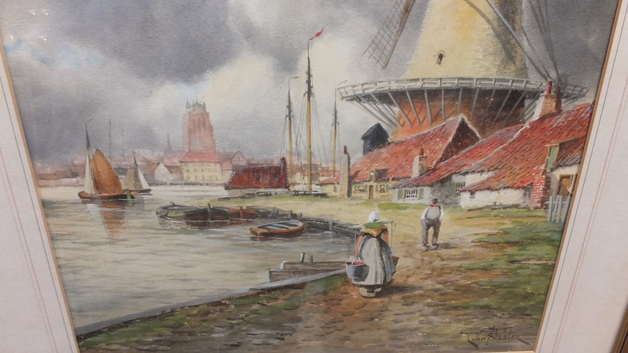 VAN STAATEN - large pair of watercolours of coasta - Image 8 of 9